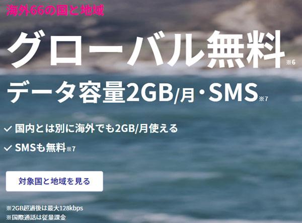 楽天モバイルはグローバル無料