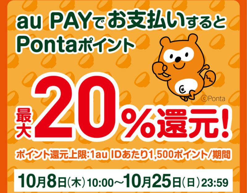 吉野家×au PAY 吉野家で20%還元キャンペーン