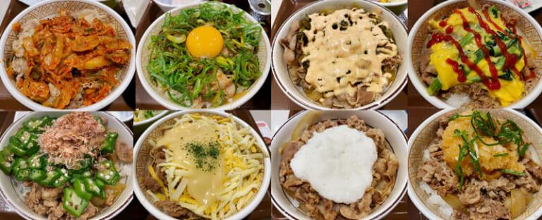 すき家の牛丼レギュラーメニュー(8種類)