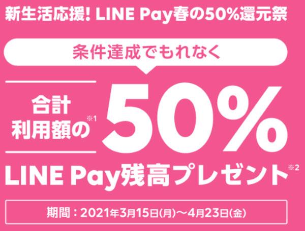 新生活応援!LINE Pay春の50%還元キャンペーン